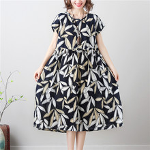 32afbe555a1 Women Long dress Short Sleeve Slim Loose Cotton And Linen Draw String Waist  Cover Meat Dresses Rice White Leaves 8139