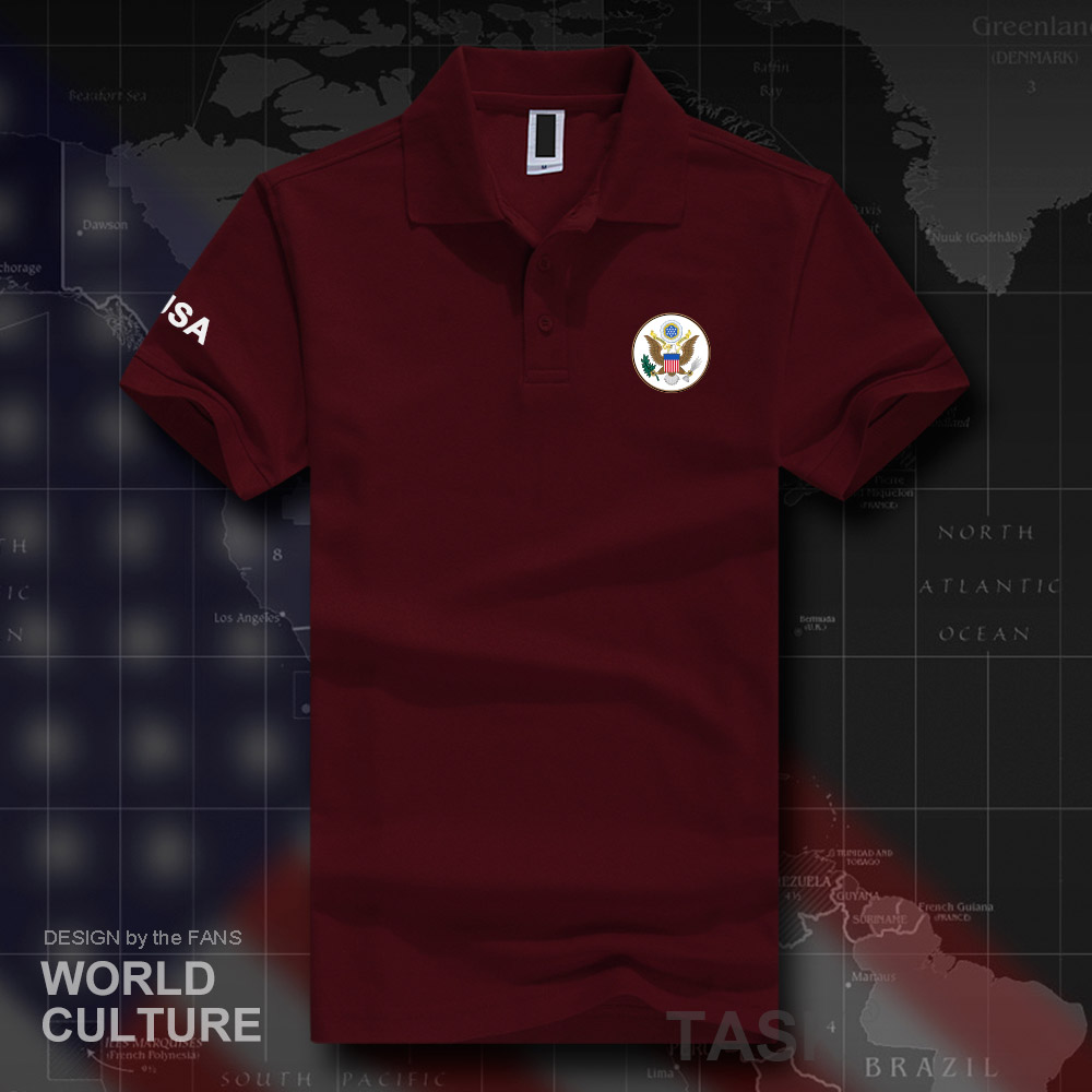 United States of America USA US   polo   shirts men short sleeve white brands printed for country   polos   100% cotton nation team
