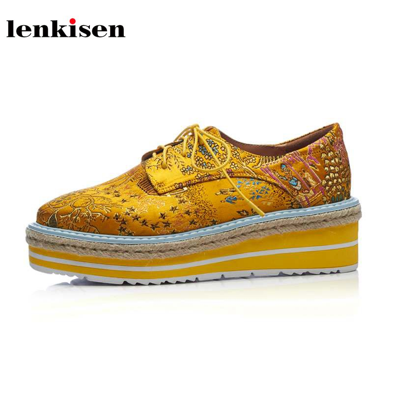 Lenkisen 2018 hot sale square toe lace up increasing oriental silk causal shoes Chinese style embroidery wedges women pumps L87