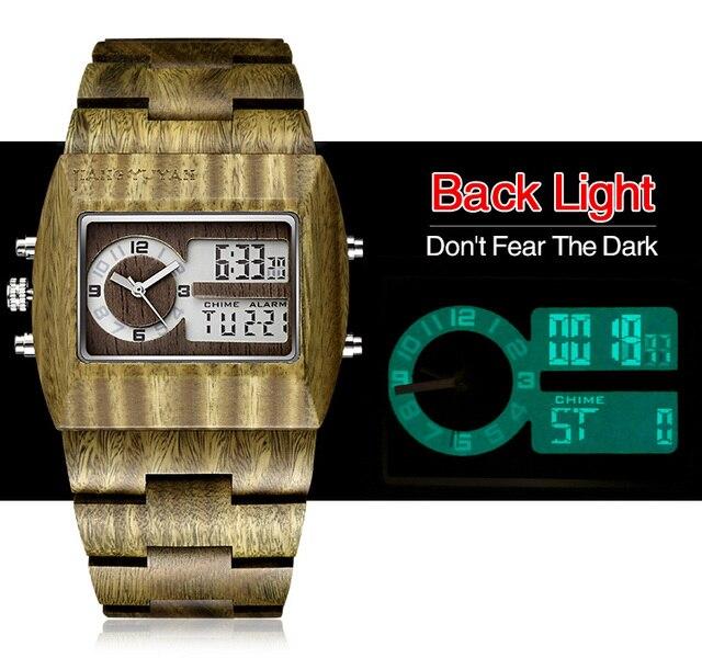 Zegarek drewno sandałowe męski wyświetlacz LED