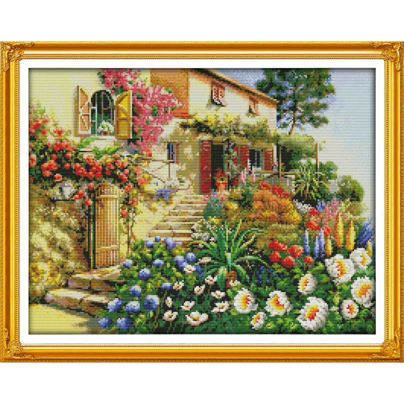 Everlasting love Garden Villa (2) Chinese cross stitch kits Ecological cotton stamped 11 CT  Christmas New store sales promotion