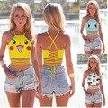 Moda verão Mulheres AA estilo Pikachu Squirtle Pokemon Bulbasaur Colheita Bustier Top Sexy Camisola Bonito 3D dos desenhos animados Top colheita Impressão