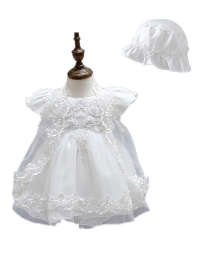 Newborn Baby Clothes Girls Dress 3 Piece Suits Ivory Lace for 0 2T Christening Gowns First