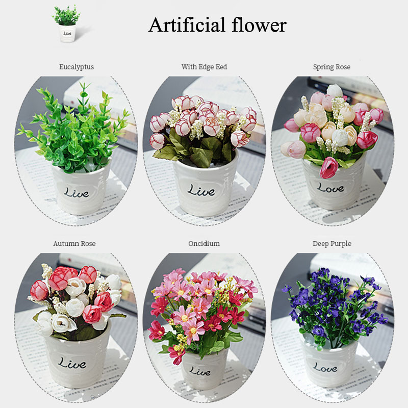 Купить с кэшбэком New Mini Artificial Flower Rose Eucalyptus Potted for Home Bedroom Decoration Beauty Photo Photography Background Backdrop Props