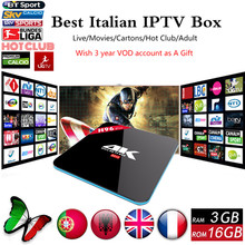 Caliente H96 Pro con Italiano Súper IPTV 1500 + Europa Canales HotClub XXX Amlogic S912 3G/16G Android 6.0 TV Box 4 K H.265 IPTV Caja