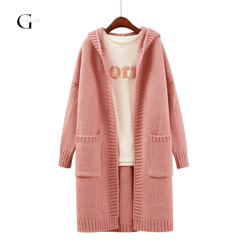 GODFSH Autumn Winter Women Cardigan Coat Warm Thick Hooded Long Cardigan Knitted Sweater Female Causal Knitting Sweater WH220