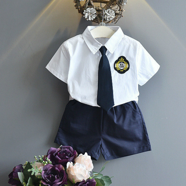 d9c561521588 Baby Boys Summer Formal Clothing Sets Shirt Shorts Tie Boy School Uniforms  Clothes White Black Suits Brand Age 2 3 4 5 6 7 Years