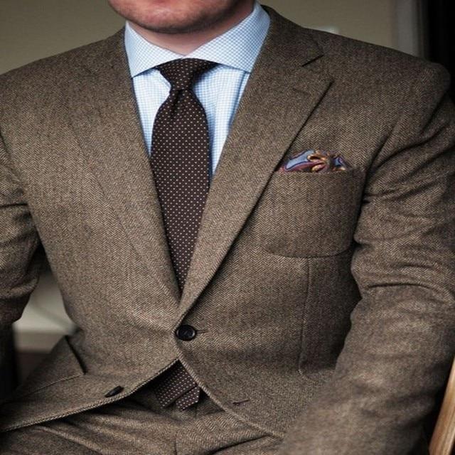 90f30088d0ba Ultime Coat Pantaloni Design Marrone Tweed Smoking Dello Sposo 2 Pezzo A  Spina di Pesce Mens