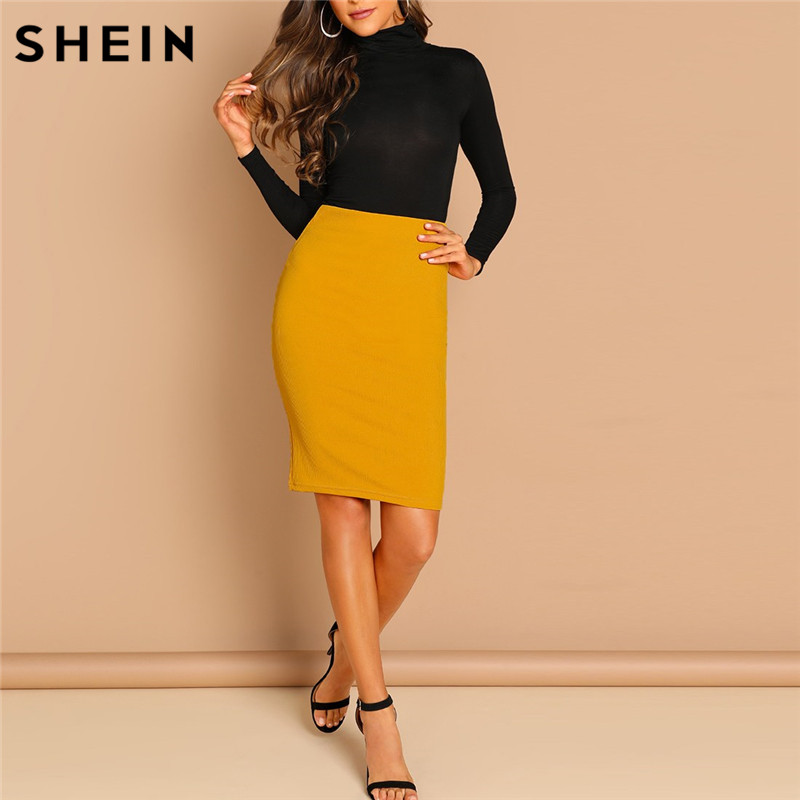 SHEIN Ginger Solid Bodycon Skirt Elegant Plain Mid Waist Pencil Skirt Office Lady Autumn Highstreet Workwear Minimalist Skirt
