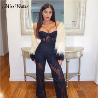 Miss Water 2019 New Women Jumpsuit Sleeveless Lace Sexy Embroidery Playsuit Female Casual Siamese Trousers Solid Black Apricot