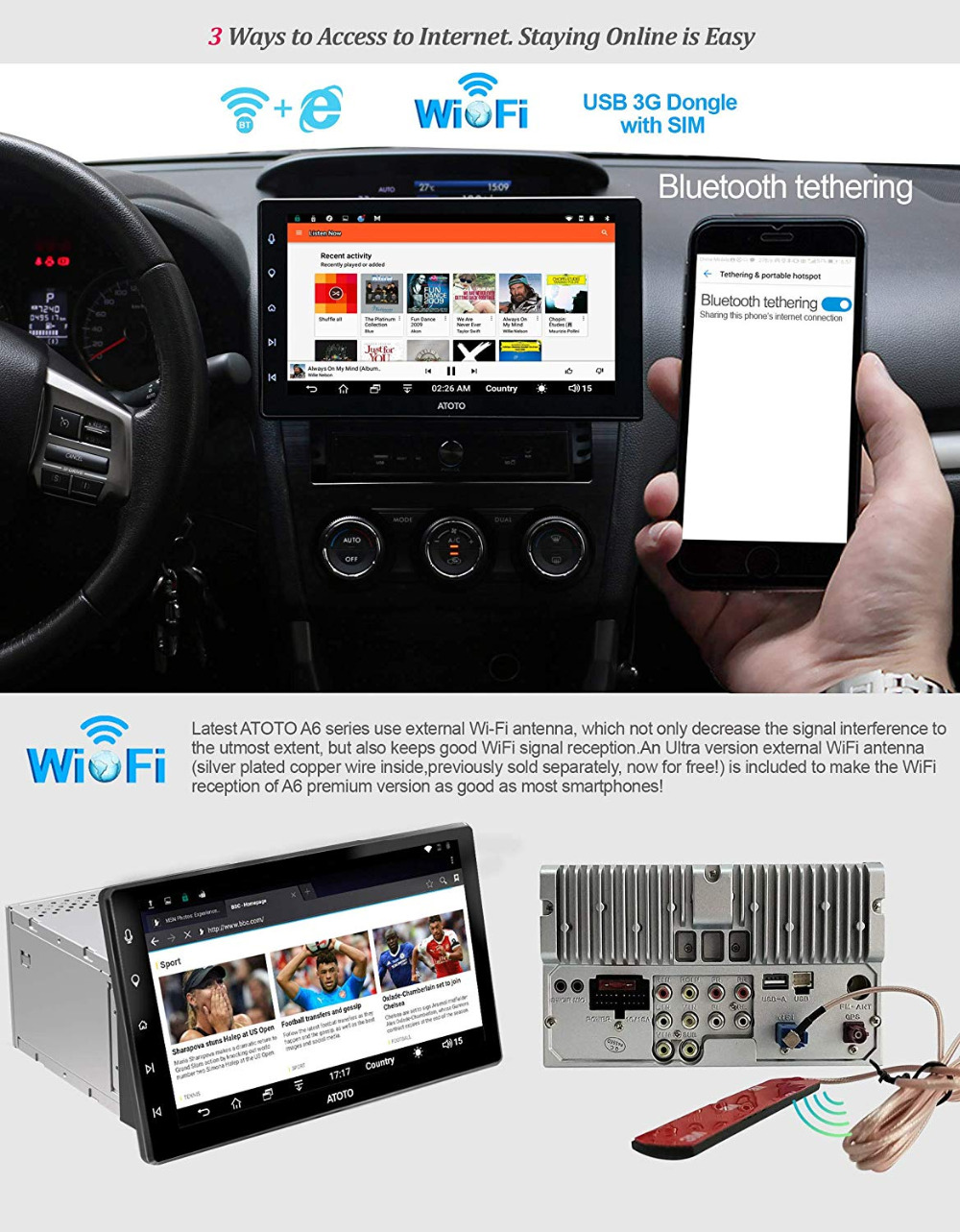 ATOTO A6 Pro 2 DIN Android Car Navi Stereo//A6Y2721PRB//HD IPS screen//2x Bluetooth