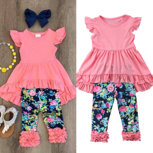 Toddler Kid Baby Girl Clothing Sleeveless Blouse Tops Floral Long Pants Leggings Summer Outfit Set 2pcs