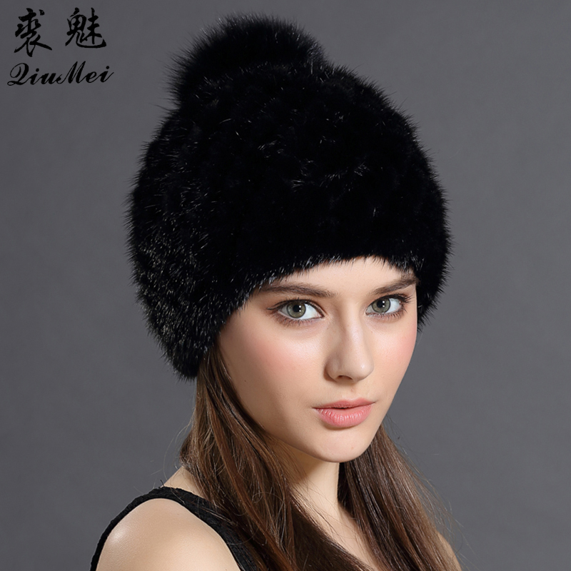 95f182ee8f8 QiuMei Mink Fur Beanies Cap With Fox Fur Pompoms For Women New Brand  Thicken Female Cap Winter Knitted Real Mink Fur Hat