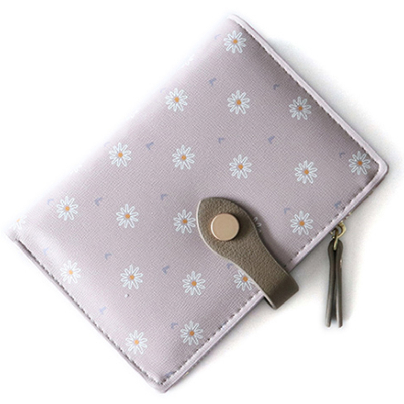 Women Short PU Wallet Daisy Print Large Capacity Folding Wallet Coin Purse Card Holder Small Fresh Korean Wallet(China)