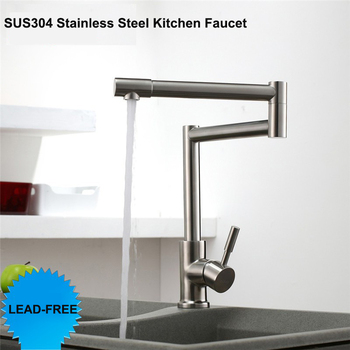 Lead -Free 360 Rotation Single Handle Hot Cold Mixer Tap Brushed Kitchen Sink Faucet SUS304 Stainless Steel Kitchen Faucet