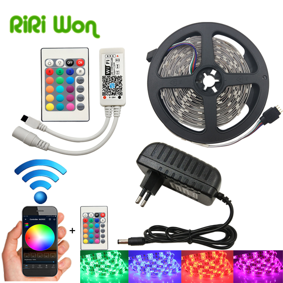 LED Strip SMD 5050 DC12V Flexible LED Light Ribbon 4m 5m 8m 10m 15m With WiFi Controller+Power RGB Diode Tape Home Decoration led strip kit led strip light 3528 smd 20m 1200leds dc12v flexible led ribbon diode tape forrf touch remote 78w power supply