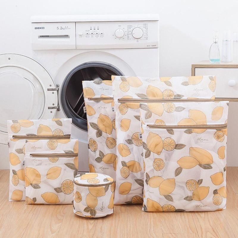 6PCS/Set New Fabric Lemon Pattern Zipper Underwear Bra Mesh Laundry Bags For Washing Machine Special Mesh Bag Net