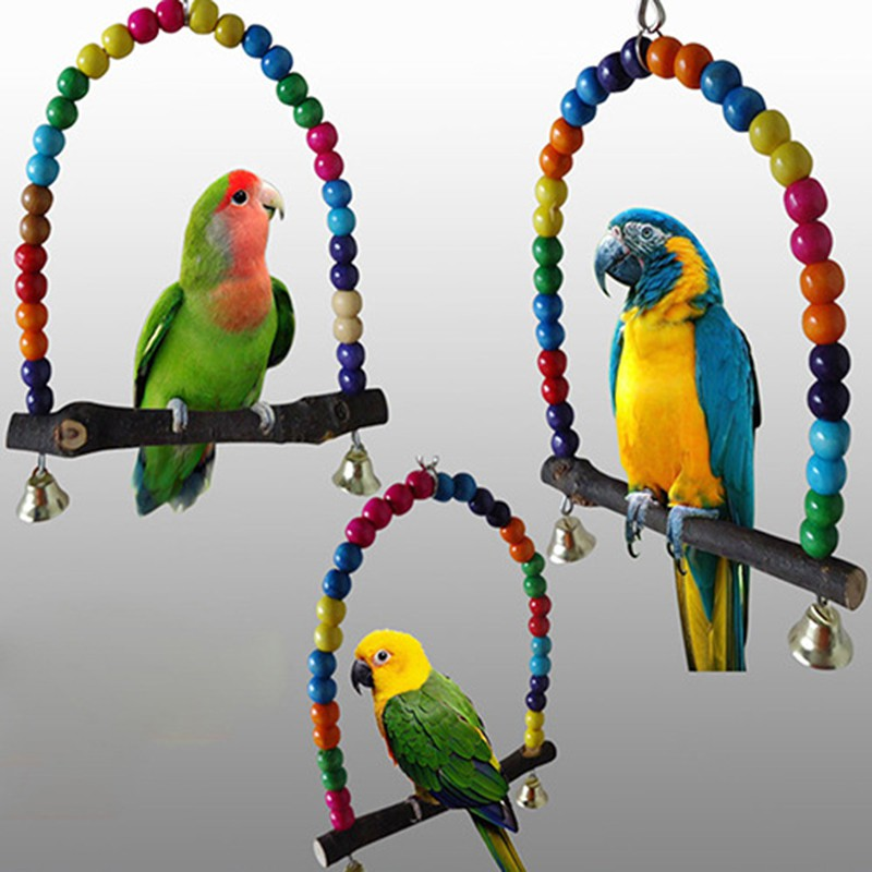 Pet Bird Toys Parrot Climbing ladder color random Swing station stand bar Chew Toys Pets Birds Accessories