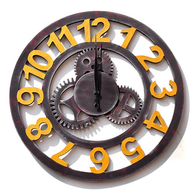 Retro Industrial Style Household Bar Wall Decoration Clock Modern Silent Mute Quartz Wall Clocks Living Room Antique Clock