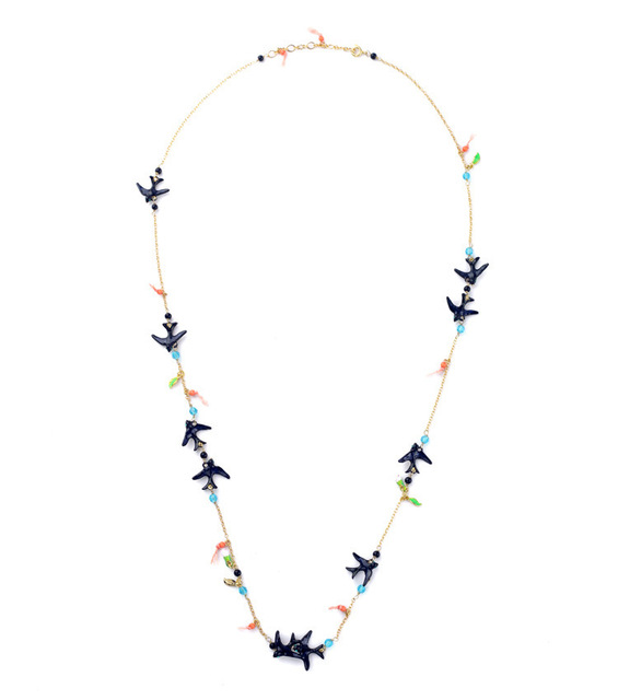 Fashion Les Nereides Enamel Flying Swallow Copper Chain Long Necklace  Personalized Charm Jewelry Necklace For Women 4eed2a6e5ac3