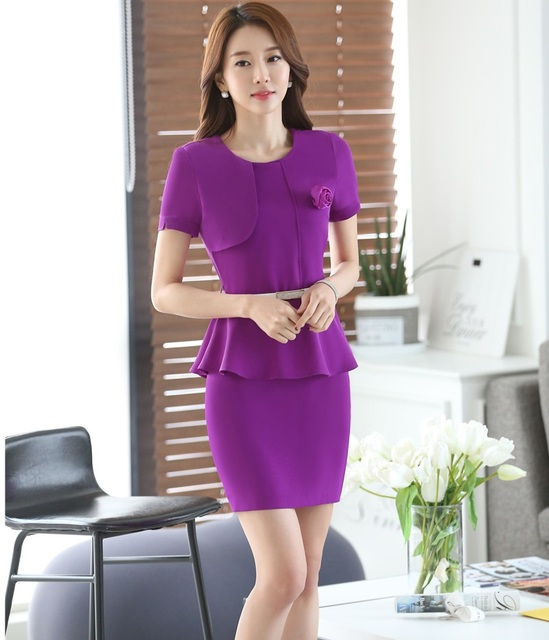 Ladies Fashion Purple Summer Short Sleeve Work Suits Tops And Skirt Elegant OL Styles Business Women Outfits Clothing Sets