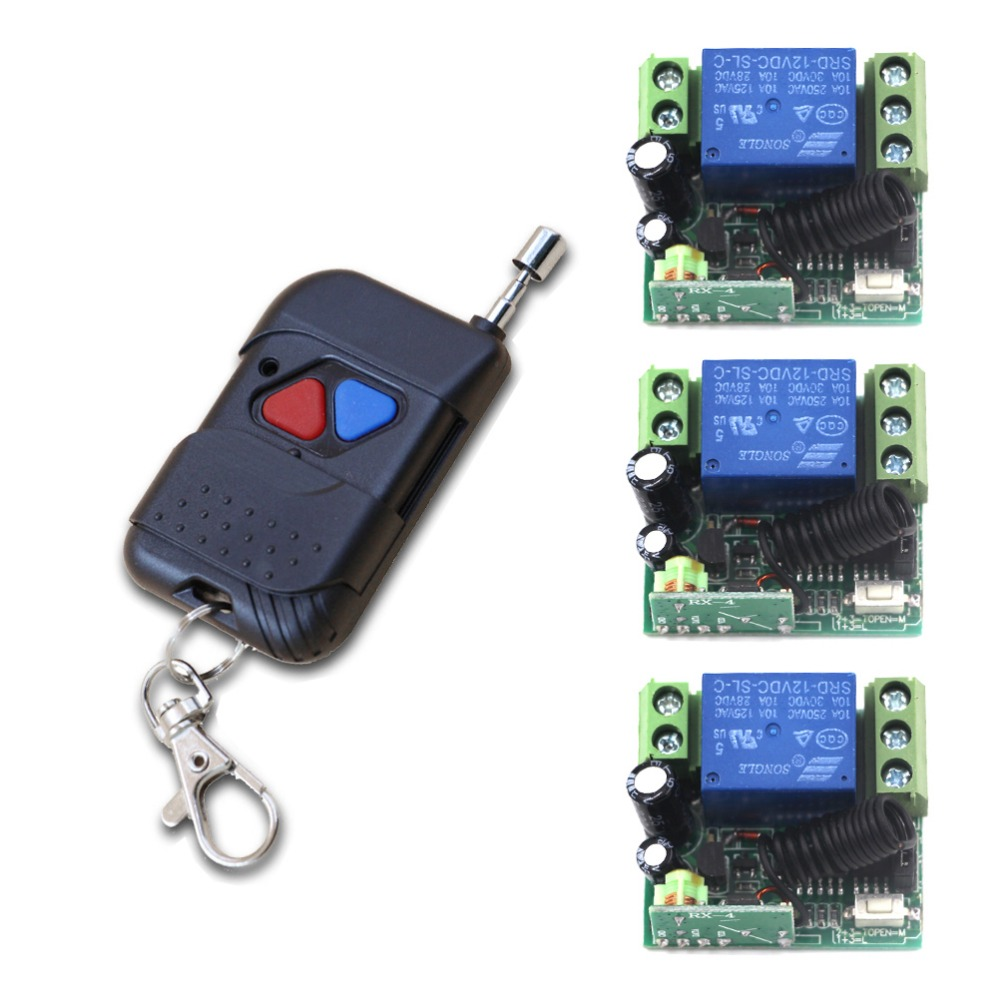 Newest DC 12 V 1CH Mini Size Relay Wireless Remote Control Switch Learning Code 3 piece Receiver+1 piece Transmitter 315MHZ dc 3 5v 12v mini relay switch receiver 7 transmitter lock unlock