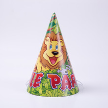 6pcs/lot Cartoon Animal Jungle animals Hats Party Decoration Disposable Tableware Set Supplies Wild Zoo Globos