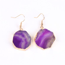 Natural Purple Agates Piece Earring Gold Earrings Female Folk-custom Polygon