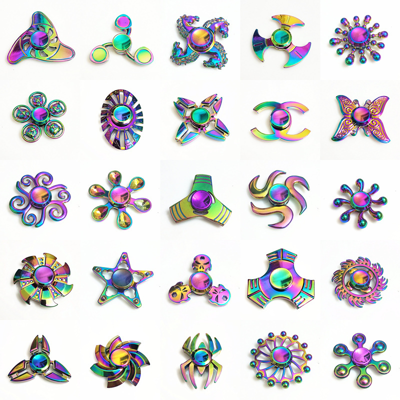 Rainbow Metal Fidget Spinner Star Flower Skull Dragon Wing Hand Spinner Autism ADHD Kids Adults Antistres Toy EDC Fidget Toy