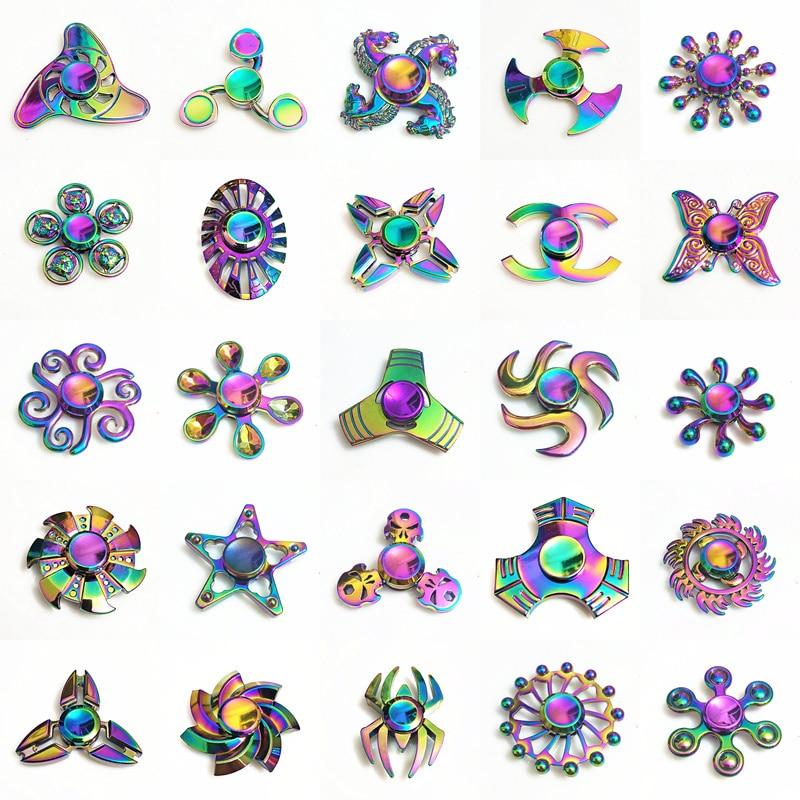 Rainbow Metal Fidget Spinner Star Flower Skull Dragon Wing Hand Spinner Autism ADHD Kids Adults Antistres Toy EDC Fidget Toy