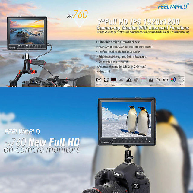 Free shipping!Feelworld FW760 Ultra HD 1920x1200 IPS 1080P HDMI Camera Audio Monitor Peaking