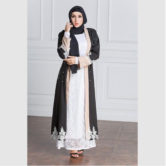 Retro Women Muslim Dress Plus Size 5XL Patchwork Women Black Dubai Abaya  Elegant Arab Loose Abaya Kaftan Islamic Dress FQ164-in Islamic Clothing  from ... 274861ee191f