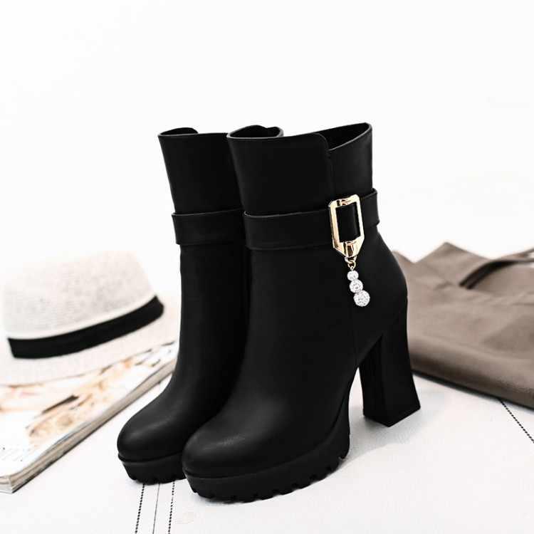Ботинки больших размеров 9, 10, 11, 12 женская обувь ботильоны для женщин дамские ботинки гидравлическое сверло боковой молнией с пряжкой на ремешке