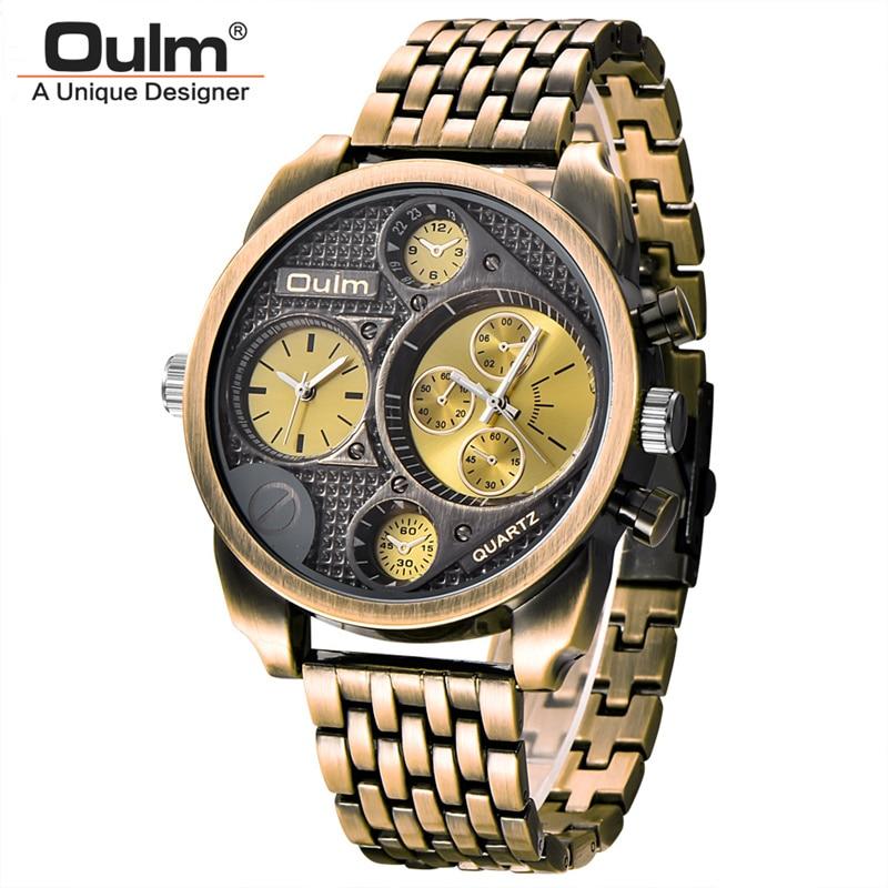 Oulm Luxury Brand Men Full Steel Quartz Watch Golden Big Size Men's Watches Antique Military Watch Male Relogio Masculino