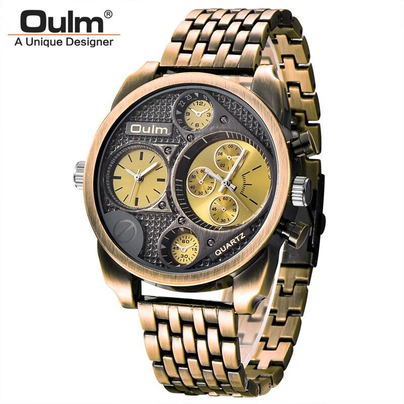 Oulm Luxury Brand Uomini Acciaio Pieno Della Vigilanza del Quarzo D'oro da uomo di Grandi Dimensioni Orologi Antichi Orologio Militare Uomo Relogio Masculino