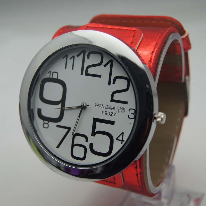 Высококачественные Женские брендовые модные большие часы 8 цветов с кожаным ремешком, военные кварцевые наручные часы с большим круглым циферблатом для женщин и мужчин - Цвет: Красный