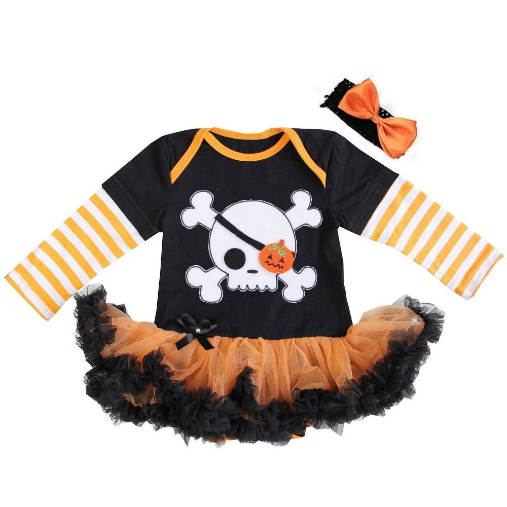 buy baby girl clothes halloween pumpkin skull boo my first halloween black orange baby bodysuit tutu party dress 0 18m from reliable