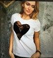 BKLD Camiseta Del Verano de Las Mujeres 2016 de Encaje En Forma de Corazón de La Manera Patchwork Pecho Abierto Sexy Top o-cuello de Manga Corta de Las Mujeres camisetas