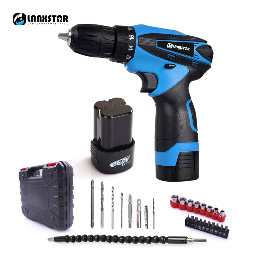 цена на Lanxstar 16.8V Electric Drill Double Speed Lithium Cordless Drill Household Multi-function Electric Screwdriver Power Tools