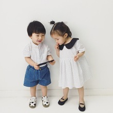 Brother Sister Matching Dot Shirt Dress Outfit