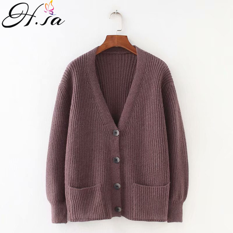 H.SA 2018 Women Cardigans Sweater V neck Solid Loose Knitwear Single Breasted Casual Knit Cardigan Outwear Winter Jacket Coat(China)