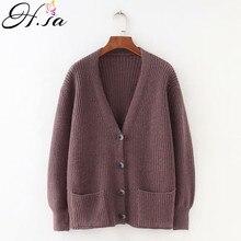 H. SA, женский кардиган, свитер, v-образный вырез, однотонный, свободный, трикотаж, однобортный, Повседневный, вязаный кардиган, верхняя одежда, зимняя куртка, пальто