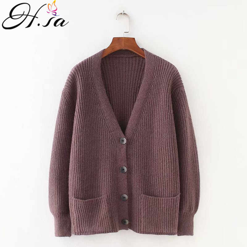 H. sa 2019 Wanita Kardigan Sweater V Leher Solid Longgar Rajut Single Breasted Kasual Merajut Cardigan Tahan Dr Jaket Musim Dingin Mantel