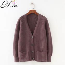 H. SA 2018 Для женщин кардиганы свитер с v-образным вырезом Solid Свободные Трикотаж Однобортный Повседневное вязать Кардиганы зимняя куртка