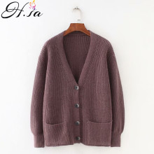 US $13.72 55% OFF|H.SA 2019 Women Cardigans Sweater V neck Solid Loose Knitwear Single Breasted Casual Knit Cardigan Outwear Winter Jacket Coat-in Cardigans from Women's Clothing on AliExpress