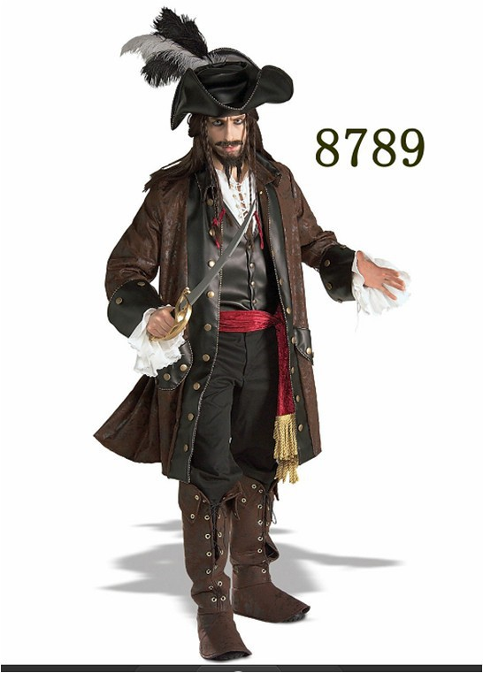 Halloween Pirate men dress uniforms luxury clothing exports Pirates of the Caribbean game uniforms costumes
