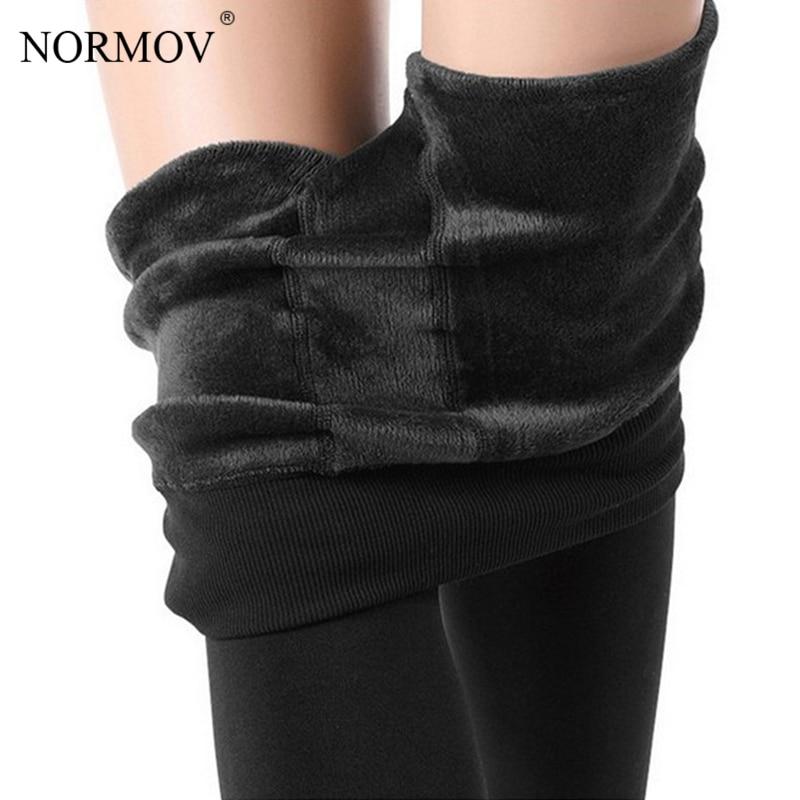NORMOV Winter Warm Leggings Women Plus Size Thick Velvet High Waist Pants Female Casual Solid Cheap Ladies Clothing 8 Color