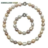 Summer Good Sheen Semi Baroque Irregular Necklace Bracelet Pearl Set Mixed Color White Pink Purple Stely