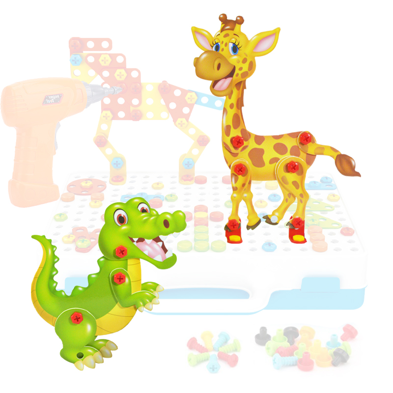 Kids Toy 8pcs Cartoon Animal Board Accessories Puzzle Toys New Accessories Suitable For Toy Drill Assembled Creative Set