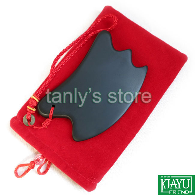 High quality Wholesale Retail Traditional Acupuncture Massage Tool new type Guasha Board Natural Black Bian stone 105x60mm in Massage Relaxation from Beauty Health